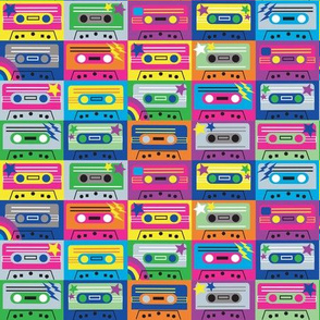 Cassette tapes neon