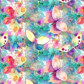 MINI BUTTERFLIES ON FLOWERS FIELDS AQUA TURQUOISE PSMGE