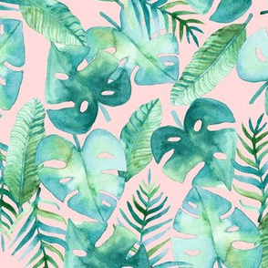 Tropical Jungle on Pink - Large