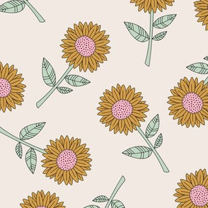 Sunflowers and petals sweet boho flowers garden summer summer beige mint ochre