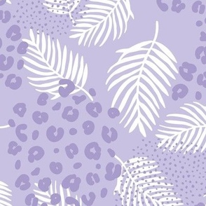 Palm leaves and animal panther spots leopard summer boho summer lilac lavender purple