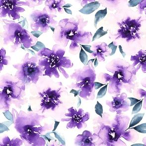 Large Purple Floral Watercolor
