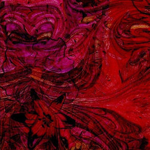 """Scarlet Blooms with Black Ink Tips on a Contemporary Abstract Background  20"""""""