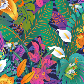 Tiger Lilies & Flying Frogs-XL