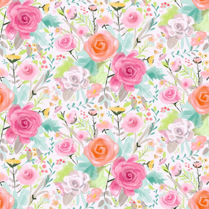 Soft and Sweet Rose Floral, pink, peach, greens