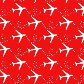 White airplanes on red