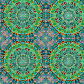Fantasy Forest with Circles in greens, corals, pinks and blues