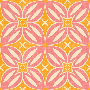 Mod flowers- coral