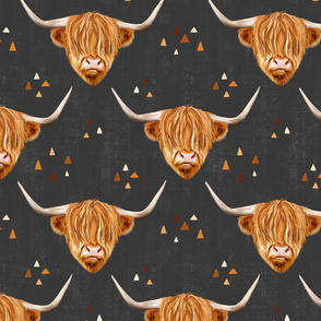 Highland Cow gender neutral on a grey background- medium scale