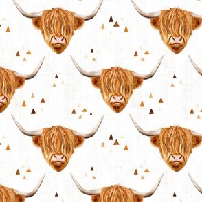 Highland cow gender neutral on white - medium scale