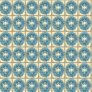 1863 Croatian Kreuzer 10 kr blue oval postage stamp