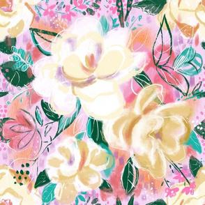 Medium- Cream Flowers with pinks, aquas