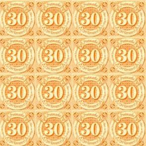 1859 Thurn und Taxis German Imperial postage stamp, 30 kreuzer, orange