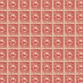 1912 Tibetan postage stamp, red