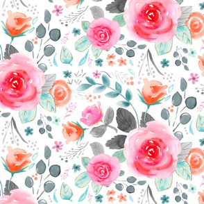 Large Hot Pink Rose Floral with grays, oranges, blue-greens, pinks