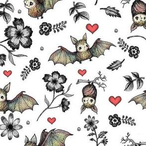 Bats & Hearts, White Background
