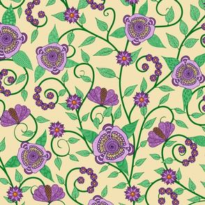 Fantasy Floral Vine--purple on cream
