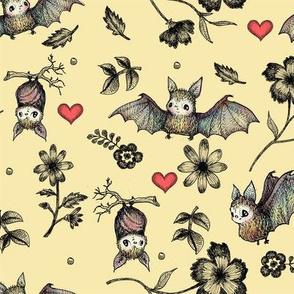 Bats & Hearts, Cream Background