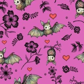 Bats & Hearts, Fuchsia Background
