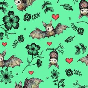Bats & Hearts, Green Background