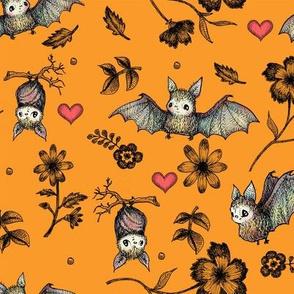 Bats & Hearts, Orange Background