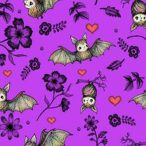 Bats & Hearts, Purple Background