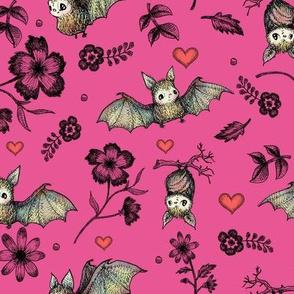 Bats & Hearts, Raspberry Background