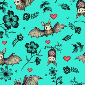 Bats & Hearts, Turquoise Background