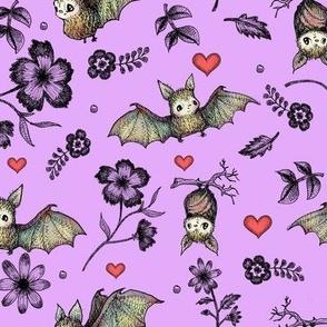 Bats & Hearts, Violet Background