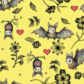 Bats & Hearts, Yellow Background