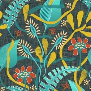 surrealist  flowers on graphite linen - small