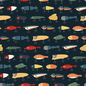 Vintage Fishing Lures (Dark Background)