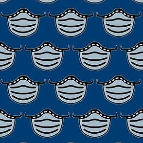 Cute face masks on blue - Pandemic fabric