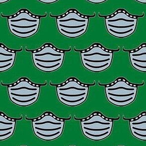 cute face masks on green - medical face masks - pandemic fabric