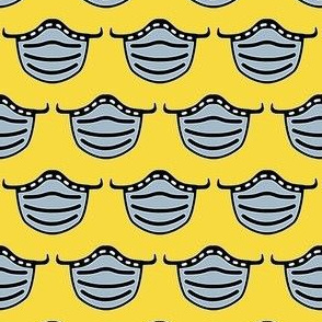 Cute face masks on yellow - Pandemic fabric - Covid fabric