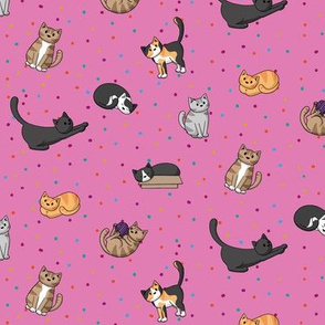 Pink cats and dots