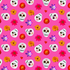 Hot Pink Sugar Skulls and Flowers Collage