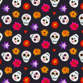 Black Sugar Skulls and Flowers Collage