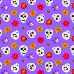Purple Sugar Skulls and Flowers Collage