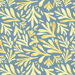 Yellow Leaves on Gray/Blue Background