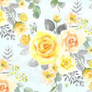 Yellow, Blush Rose, Eucalyptus on Mint