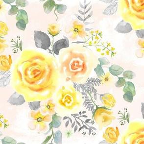 Yellow, Blush Rose, Eucalyptus on Blush