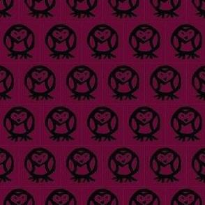 heart owl maroon