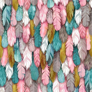 Jewel Tone Feathers Small Scale
