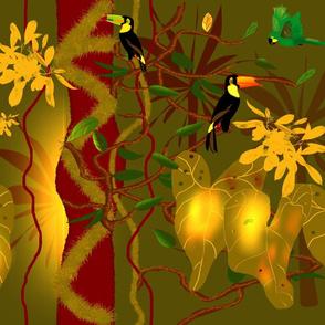 Surreal Jungle - Khaki & Amber