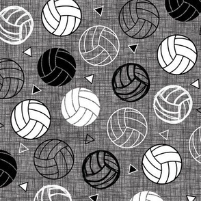 Volleyball Triangles on Gray Linen Charcoal Black White