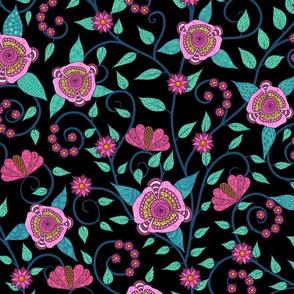 Fantasy Floral Vine--pink and teal on black
