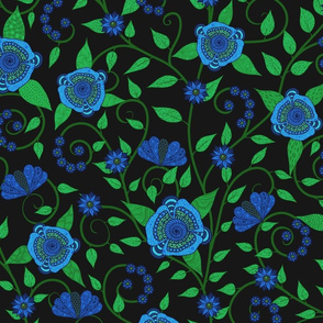 Fantasy Floral Vine--blue on black