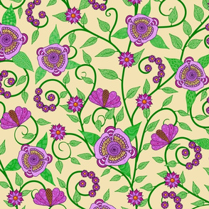 Fantasy Floral Vine--pink and green on cream