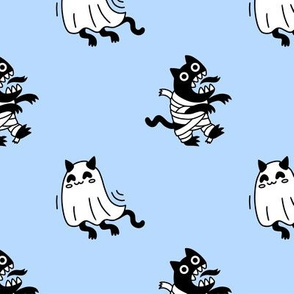 Ghost kittens and zombie mummies. Cat's Halloween